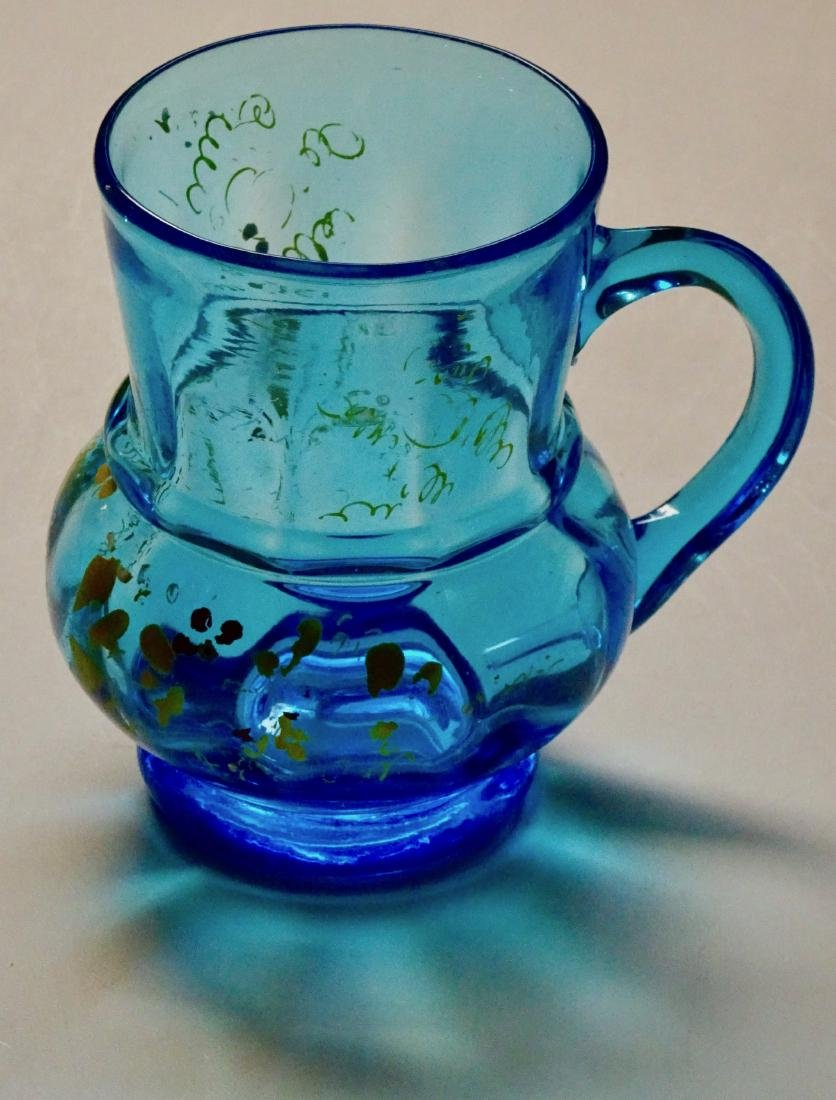Antique Blue Glass Enameled Tankard Mug Broken Pontil