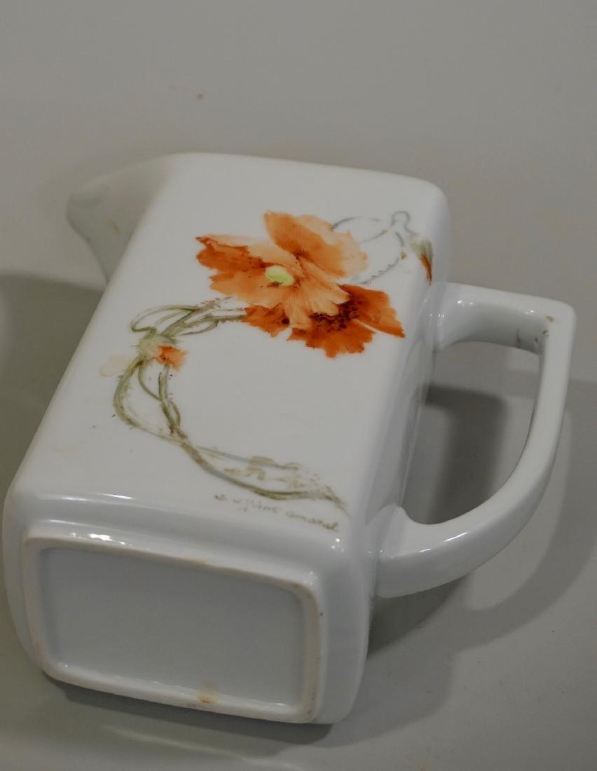 Hand Painted Poppy Antique Porcelain Pitcher Artist - 5