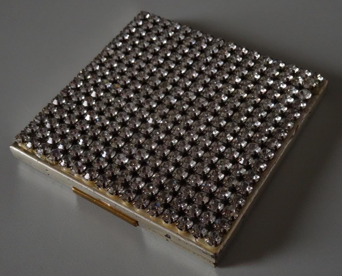 Vintage Art Deco Rhinestone Jeweled Compact Powder Box