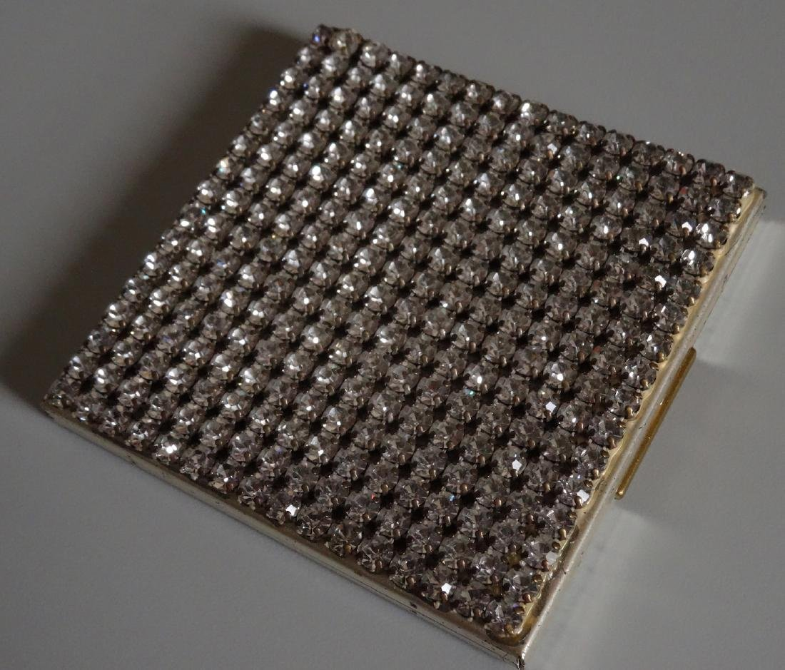 Vintage Art Deco Rhinestone Jeweled Compact Powder Box - 2