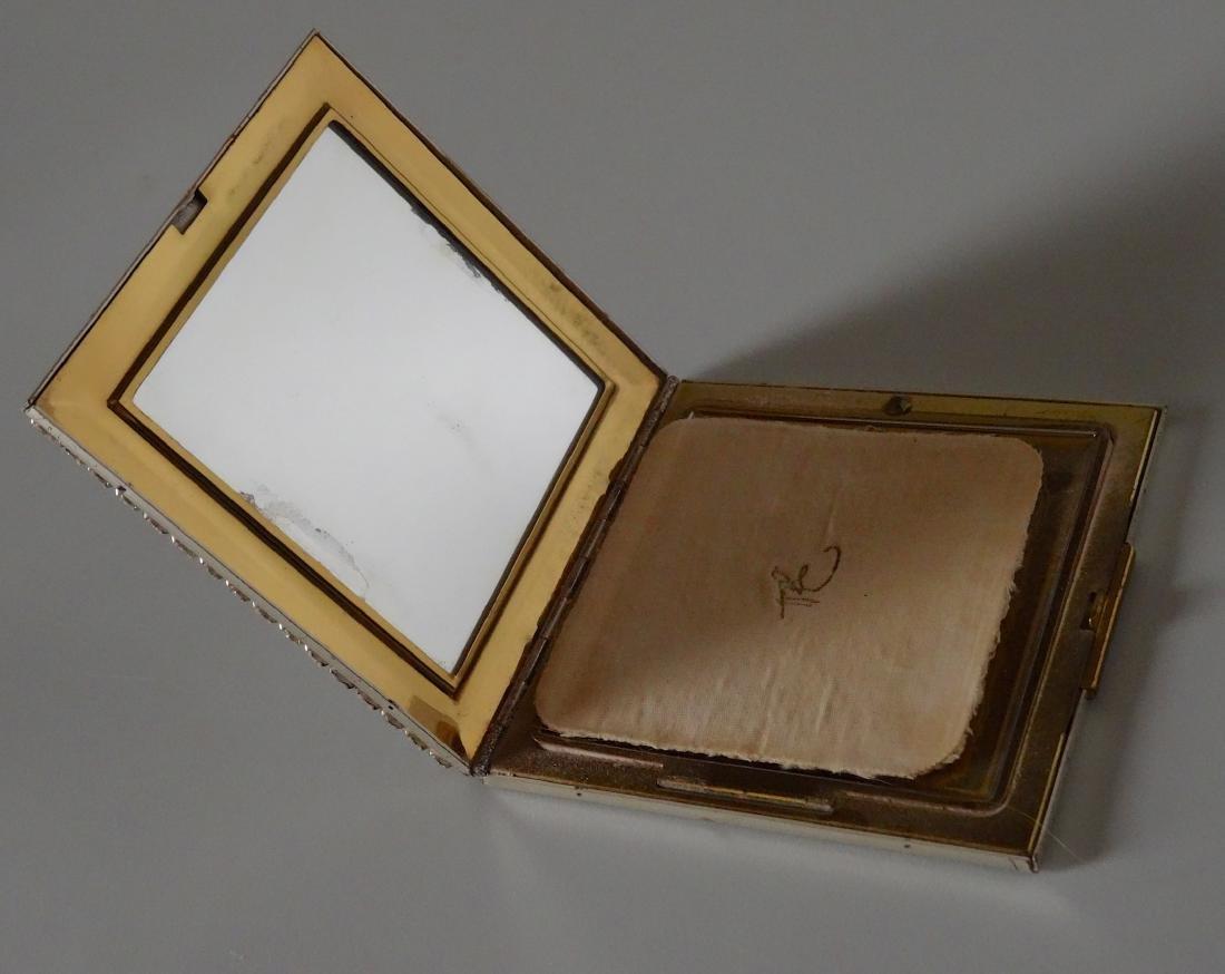 Vintage Art Deco Rhinestone Jeweled Compact Powder Box - 4