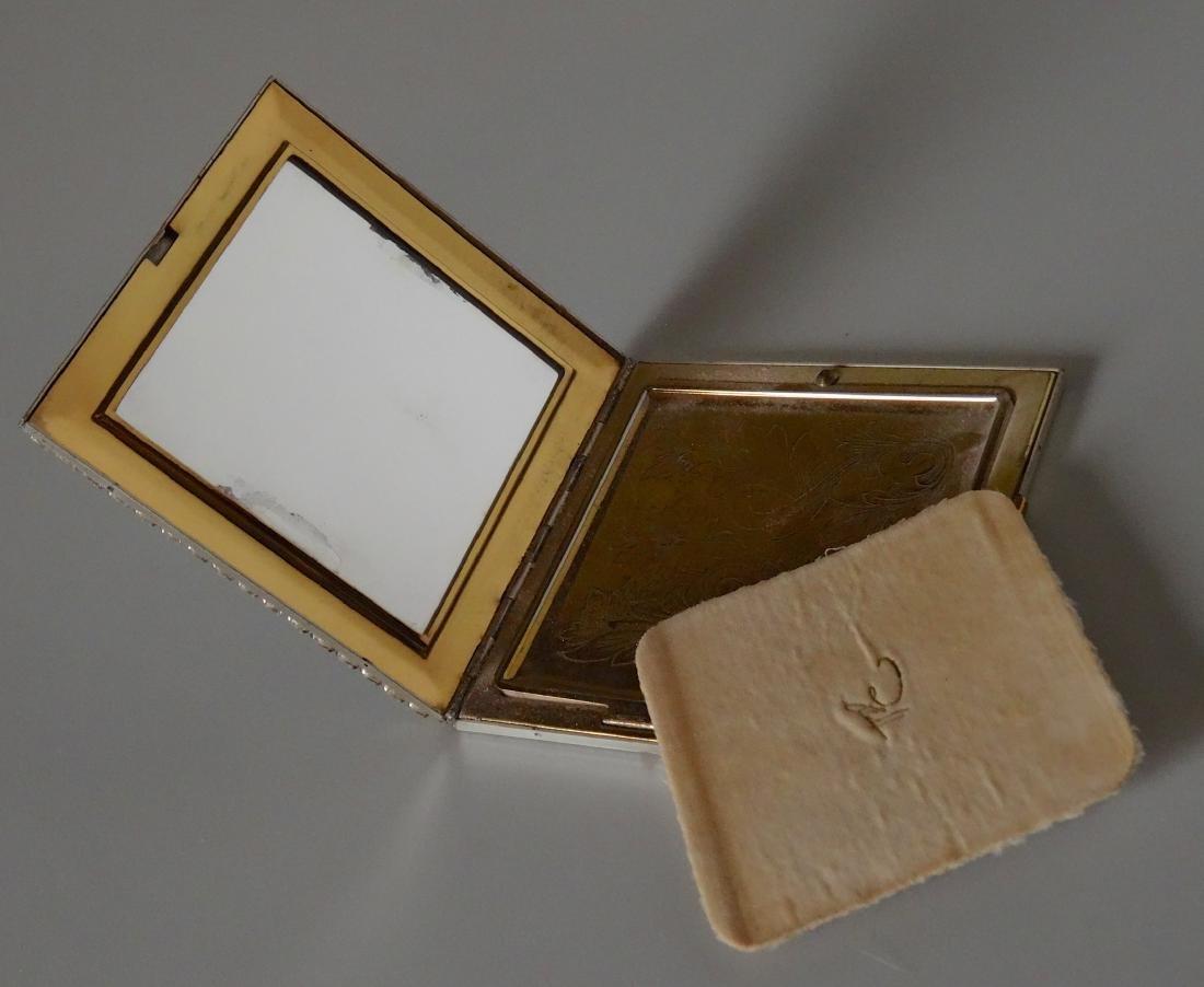 Vintage Art Deco Rhinestone Jeweled Compact Powder Box - 5