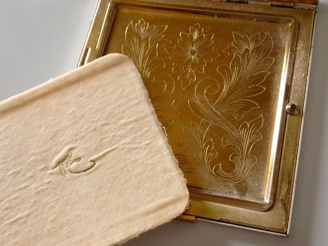 Vintage Art Deco Rhinestone Jeweled Compact Powder Box - 6