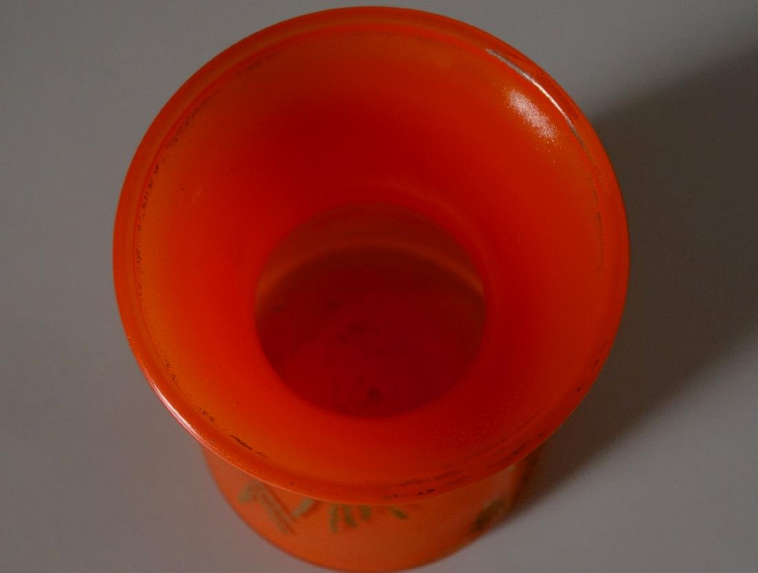 Art Deco Vintage Czech Bohemian Orange Glass Vase - 4