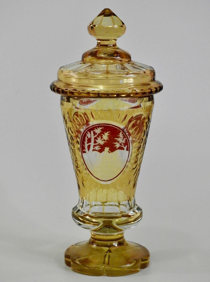 Bohemian Amber Pokal Cut to Clear Ruby Flashed Glass