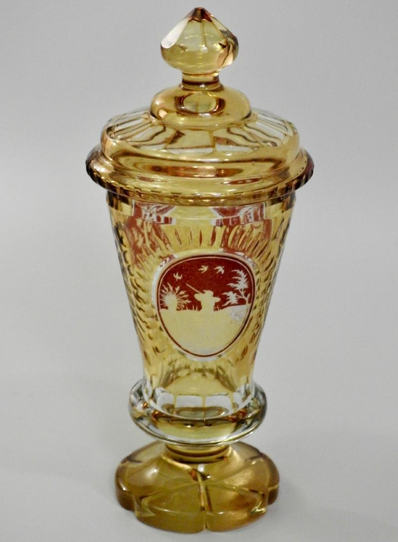 Bohemian Amber Pokal Cut to Clear Ruby Flashed Glass - 3