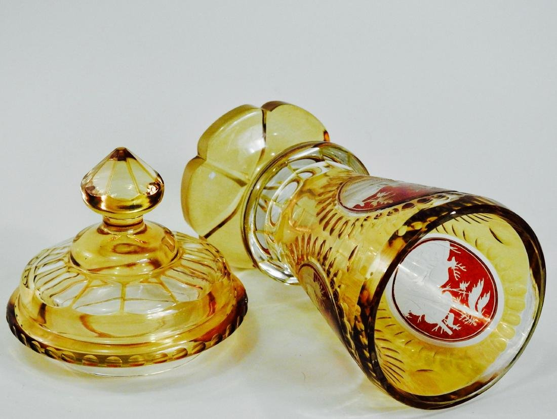 Bohemian Amber Pokal Cut to Clear Ruby Flashed Glass - 5