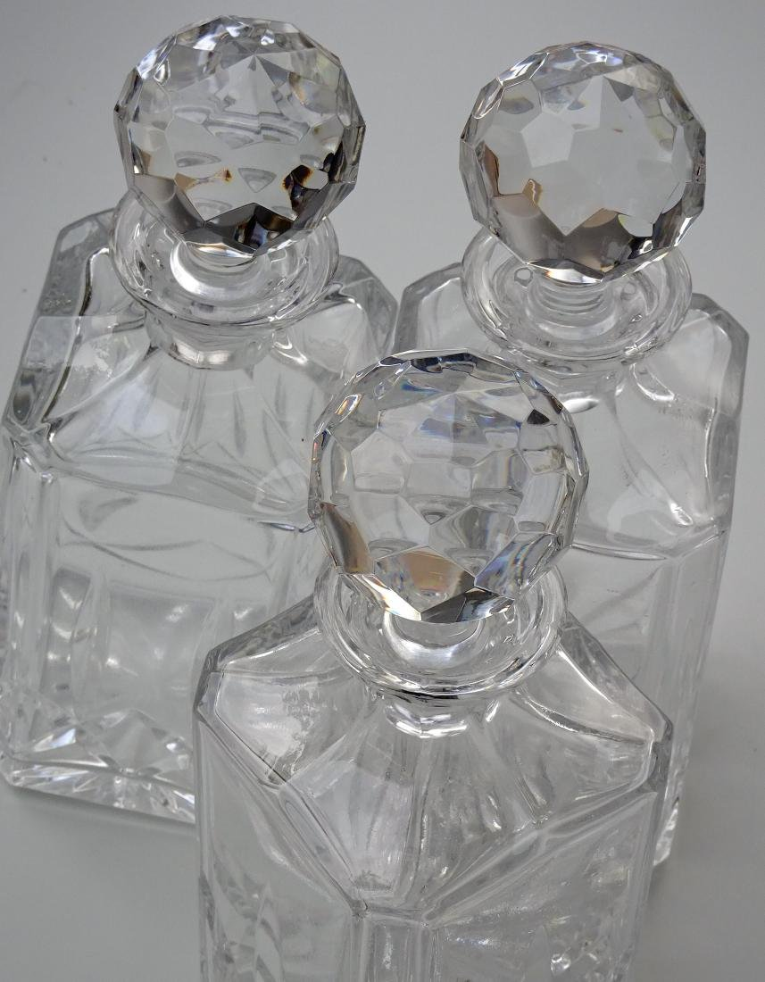 Lot of 3 Whiskey Crystal Decanters - 2