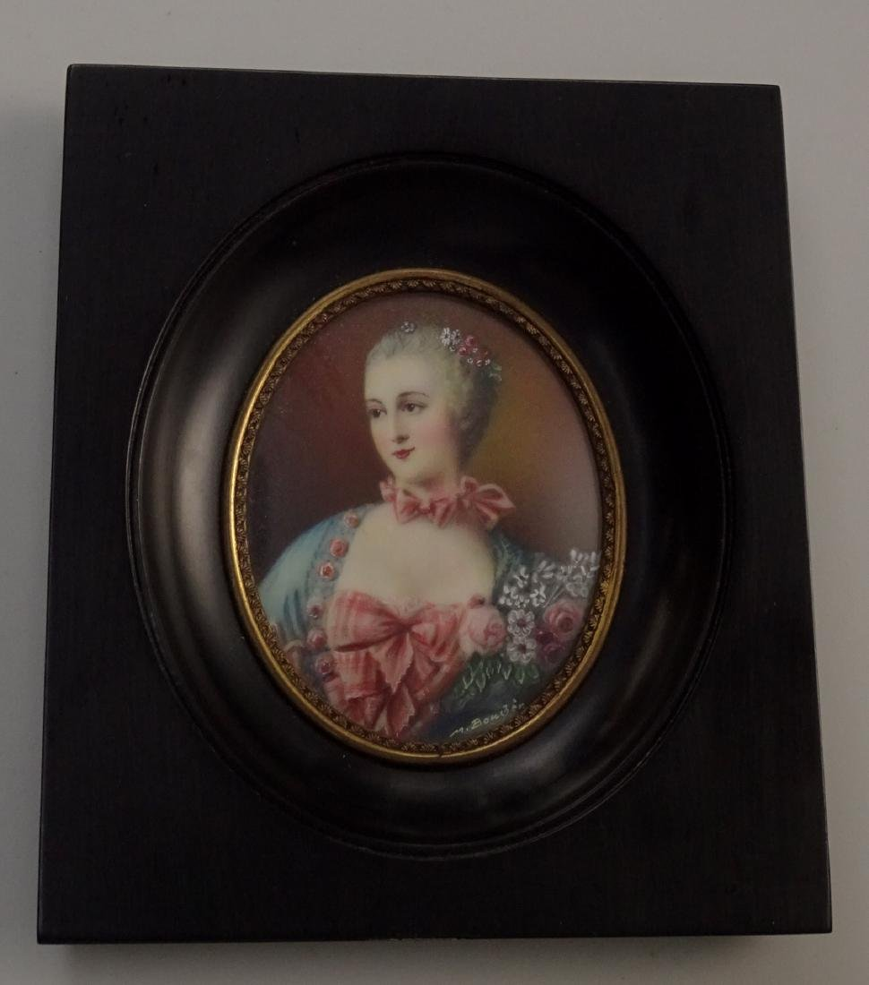Madame Pompadour Antique Hand Painted Framed Miniature - 2