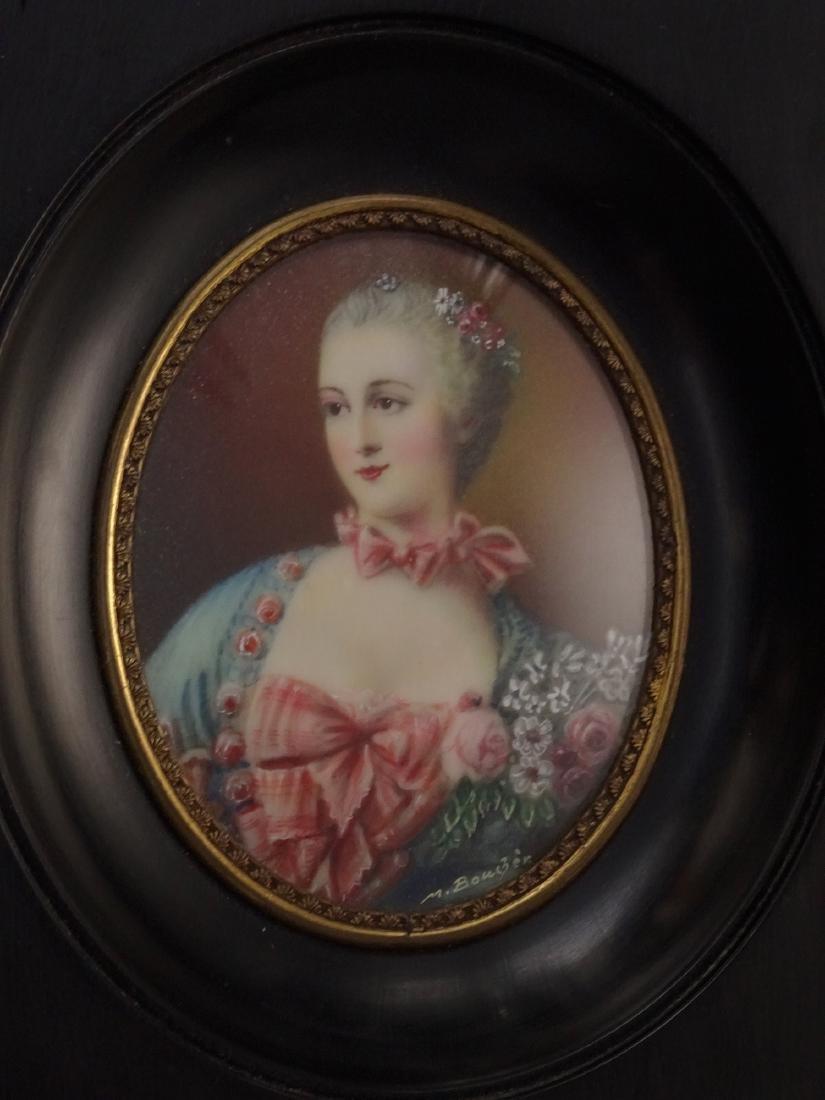 Madame Pompadour Antique Hand Painted Framed Miniature - 3
