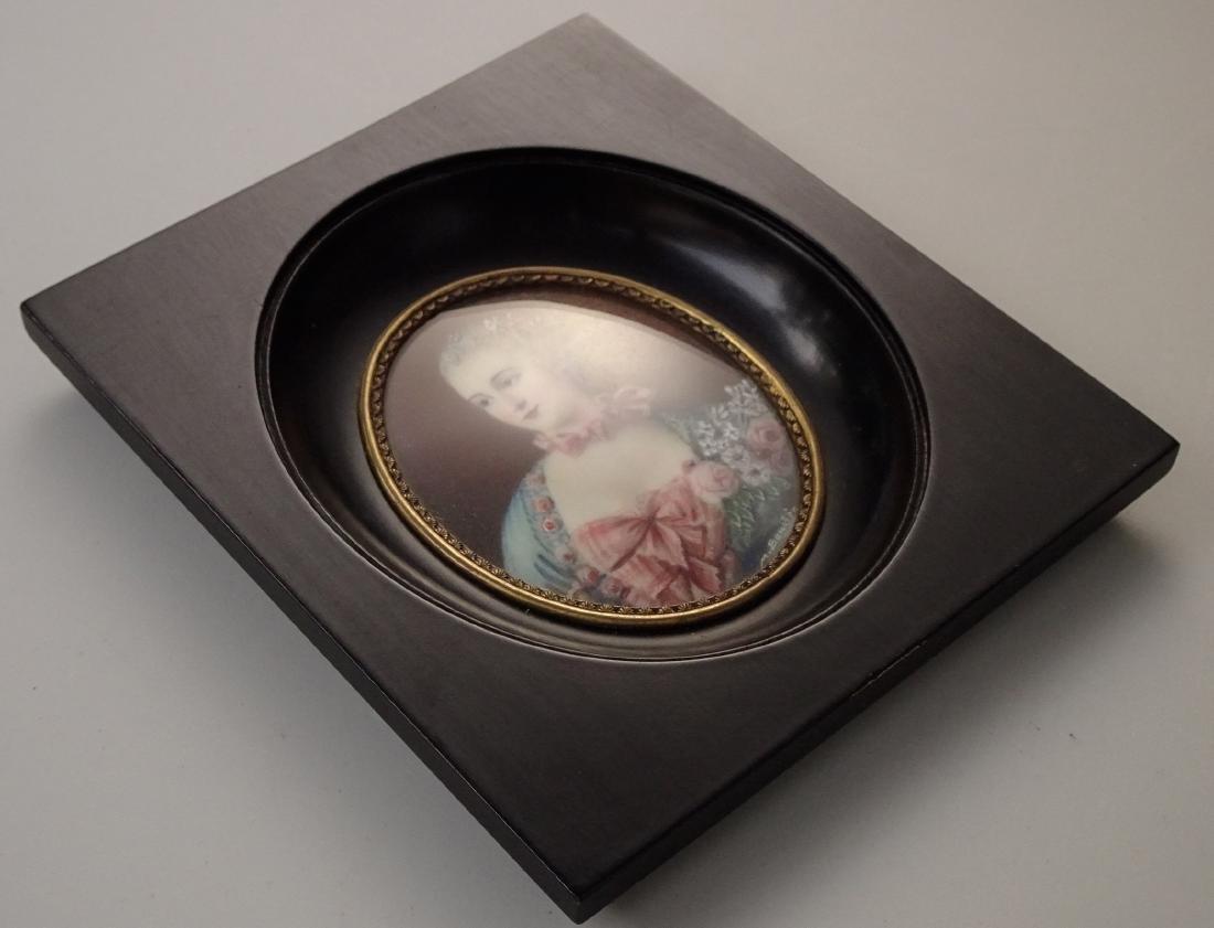 Madame Pompadour Antique Hand Painted Framed Miniature - 5