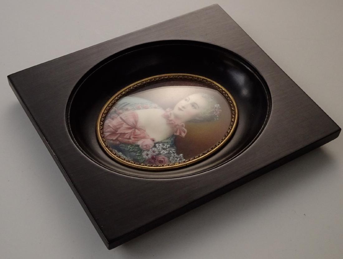 Madame Pompadour Antique Hand Painted Framed Miniature - 6