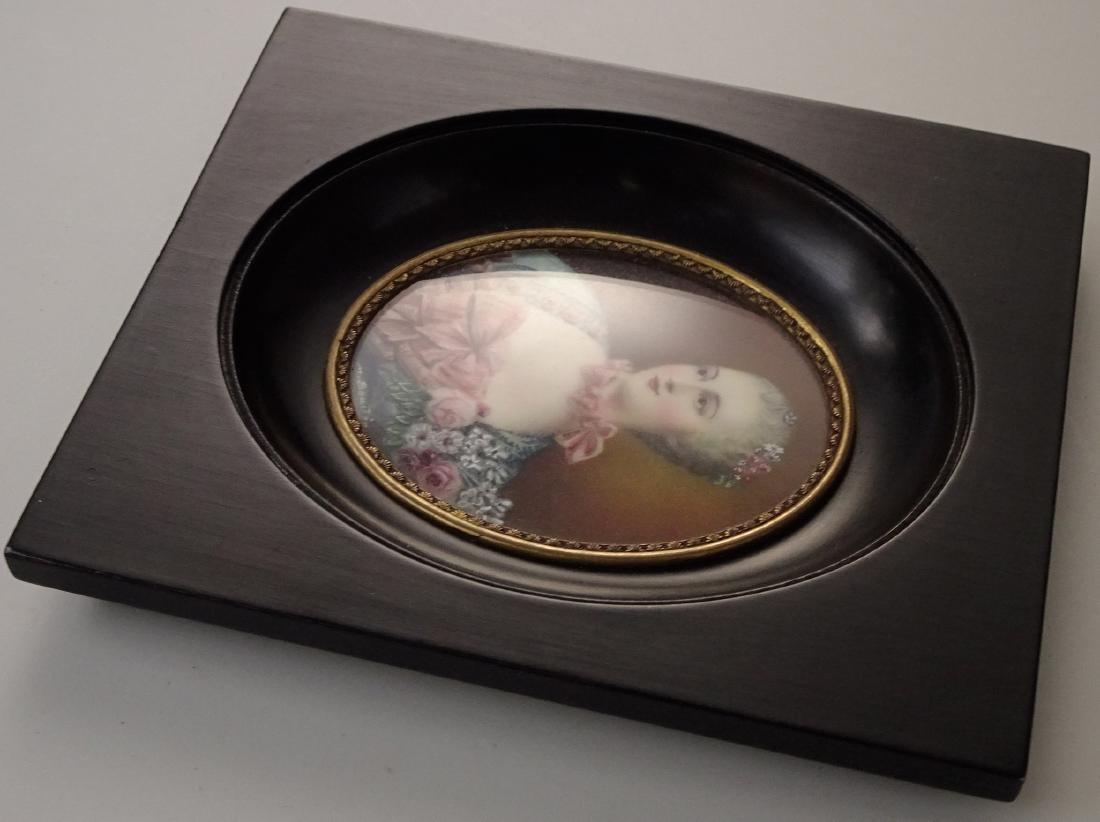 Madame Pompadour Antique Hand Painted Framed Miniature - 7