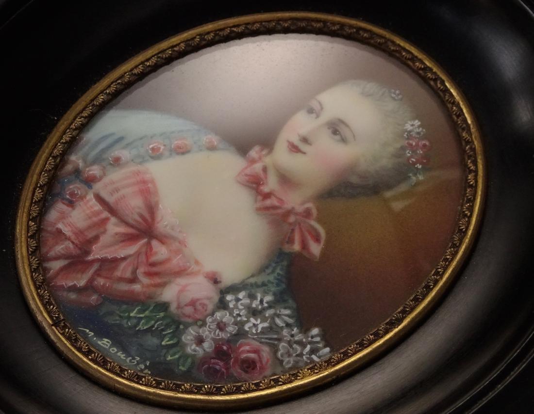 Madame Pompadour Antique Hand Painted Framed Miniature - 8