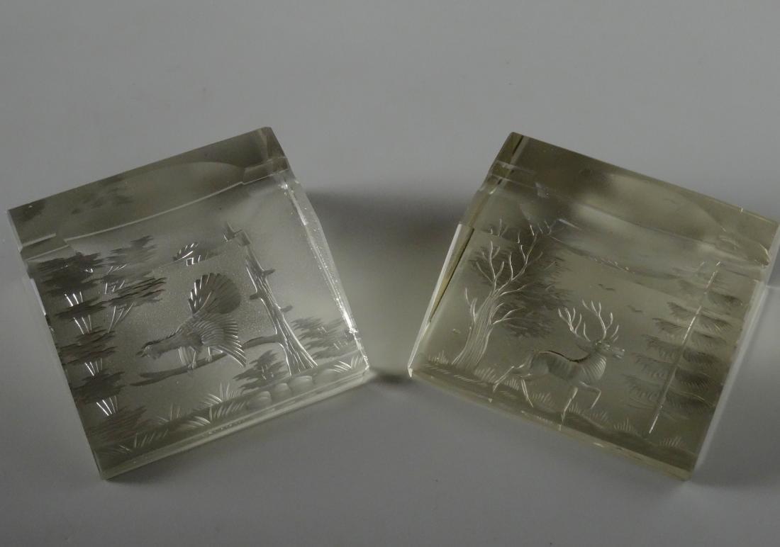 Bohemian Cut Glass Desktop Paperweight Pen Holder Lot