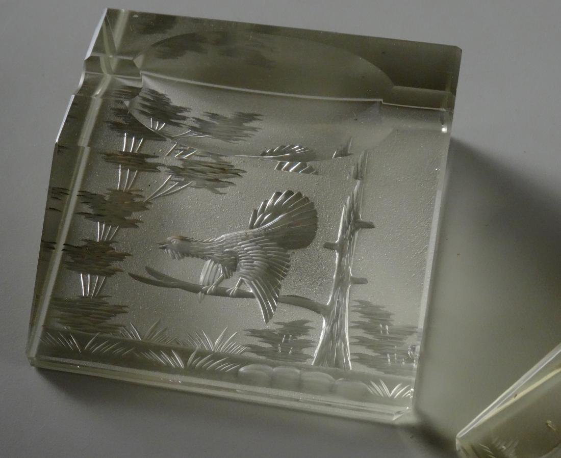 Bohemian Cut Glass Desktop Paperweight Pen Holder Lot - 2