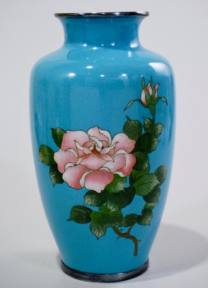 Cloisonne Enamel Japanese Rose Vase Blue Enamel