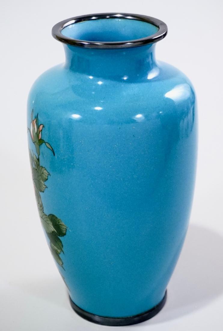 Cloisonne Enamel Japanese Rose Vase Blue Enamel - 2