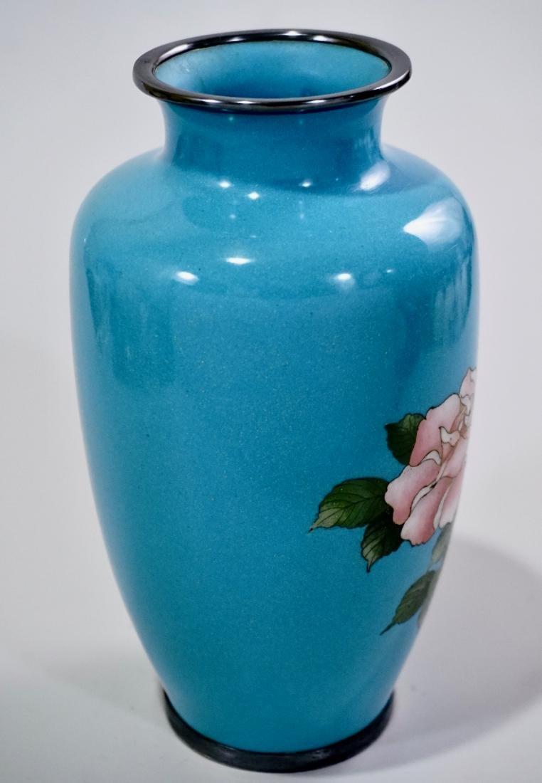 Cloisonne Enamel Japanese Rose Vase Blue Enamel - 3