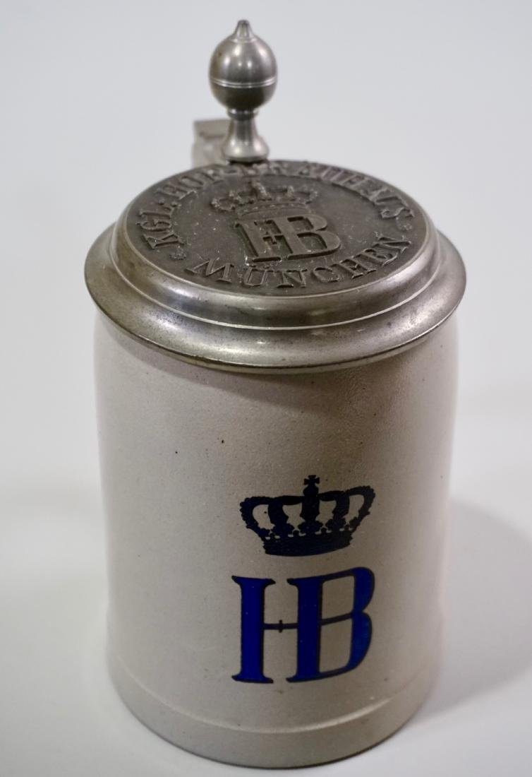HB Stein Heavy Pewter Lid German Stoneware Beer Stein