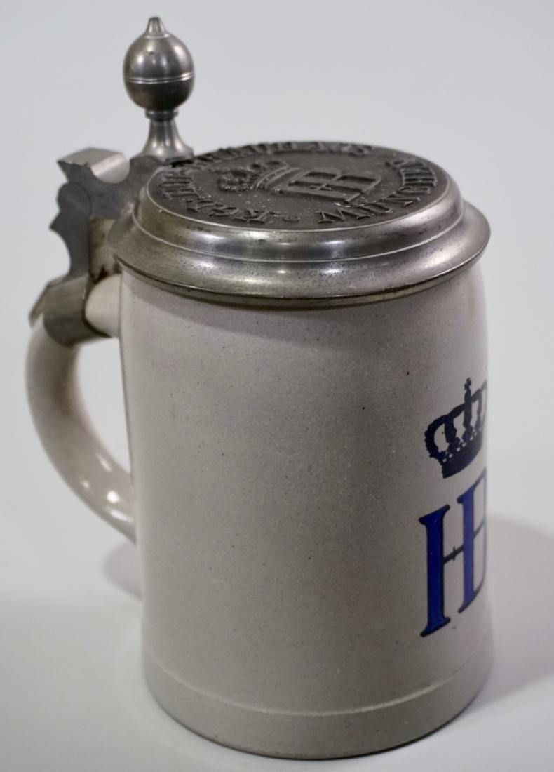 HB Stein Heavy Pewter Lid German Stoneware Beer Stein - 2