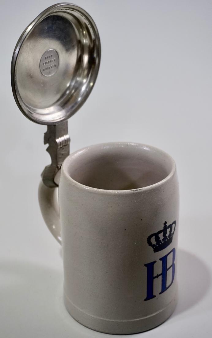 HB Stein Heavy Pewter Lid German Stoneware Beer Stein - 6
