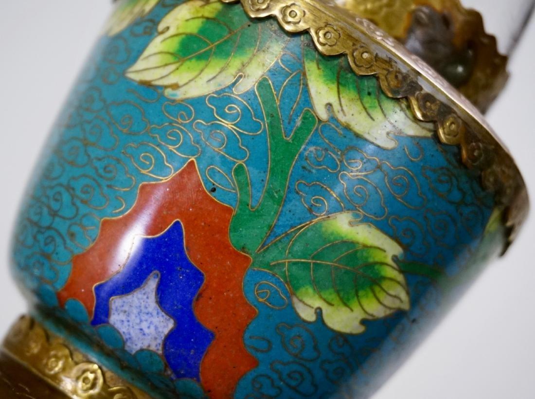 Chinese Opium Den Cloisonne Enamel Vapour Lamp - 2