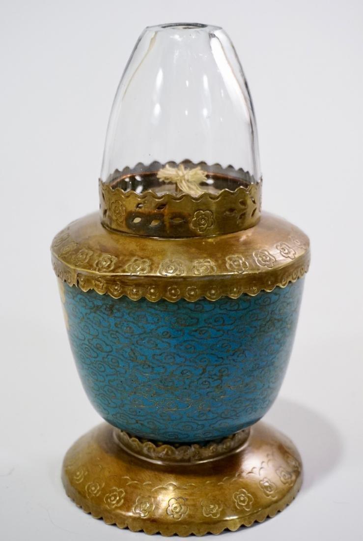 Chinese Opium Den Cloisonne Enamel Vapour Lamp - 4