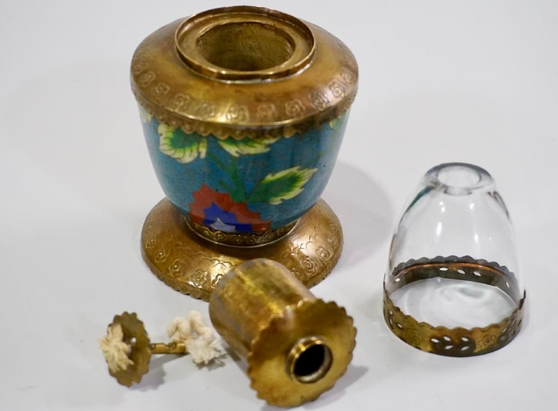 Chinese Opium Den Cloisonne Enamel Vapour Lamp - 5