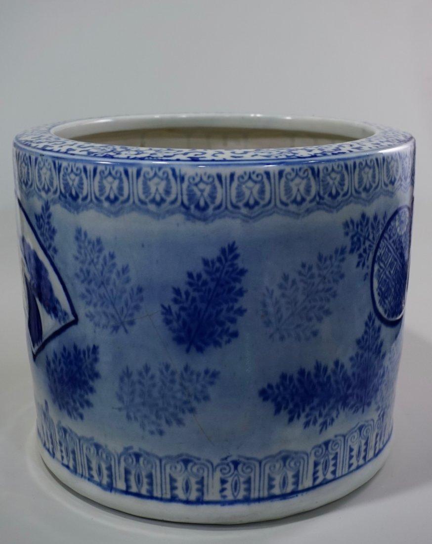 Large Oriental Porcelain Crane Bowl Planter - 3