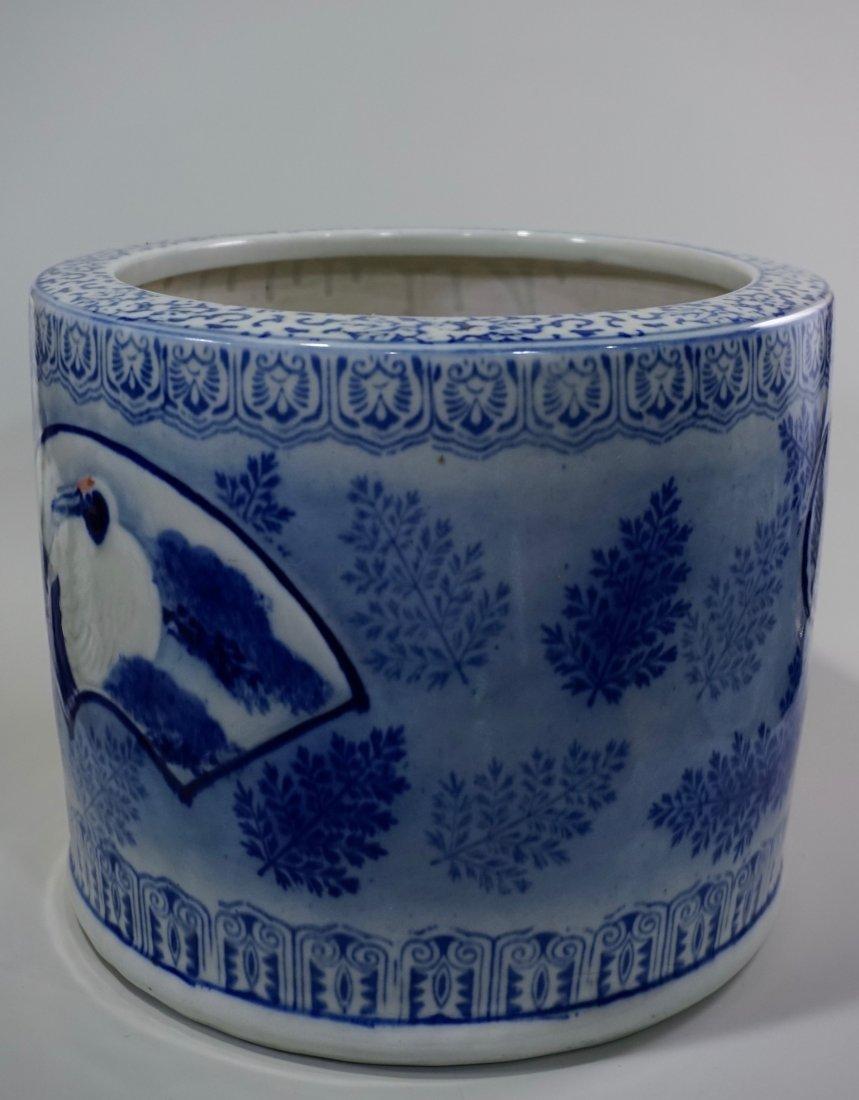 Large Oriental Porcelain Crane Bowl Planter - 4