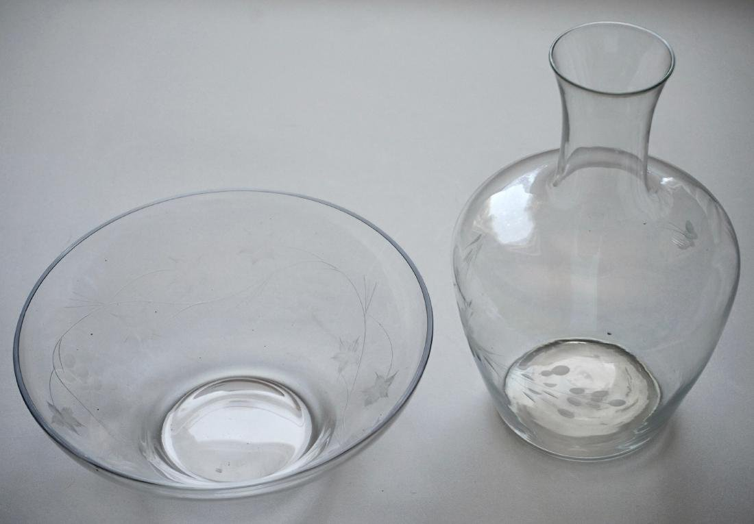 Vintage Glass Carafe and Bowl Clear Cut Glass - 2