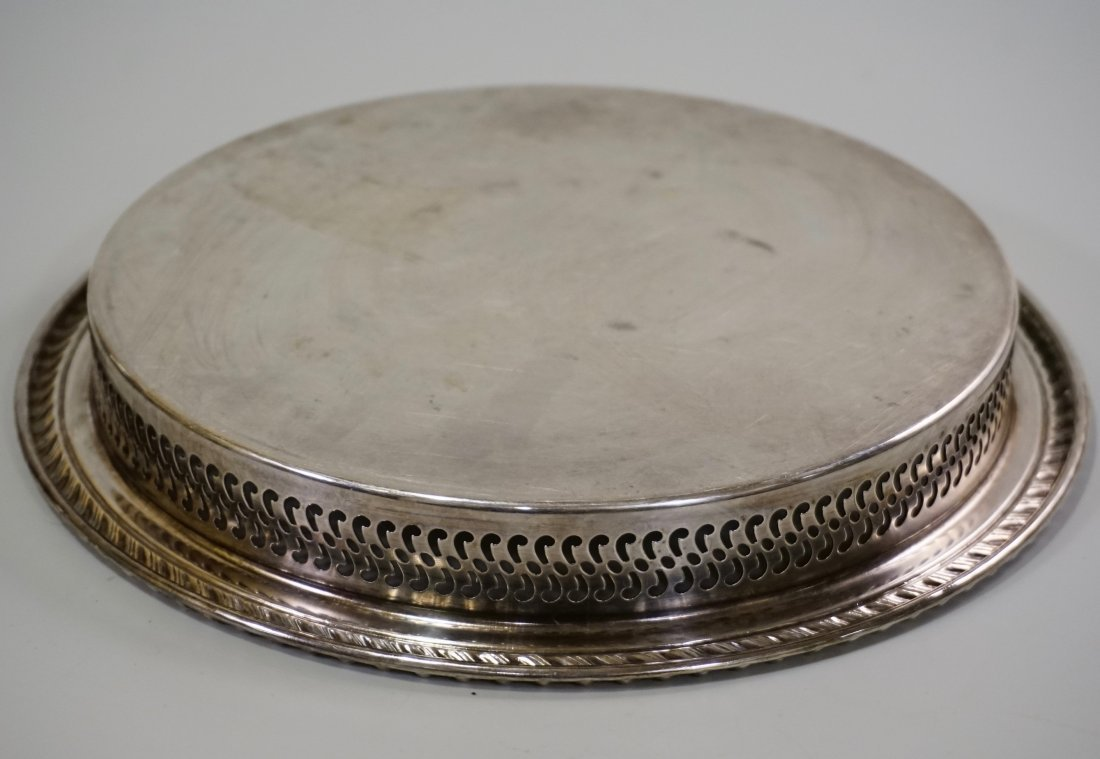 Round Pierced Gallery Serving Platter Tray Lot of 2 - 4