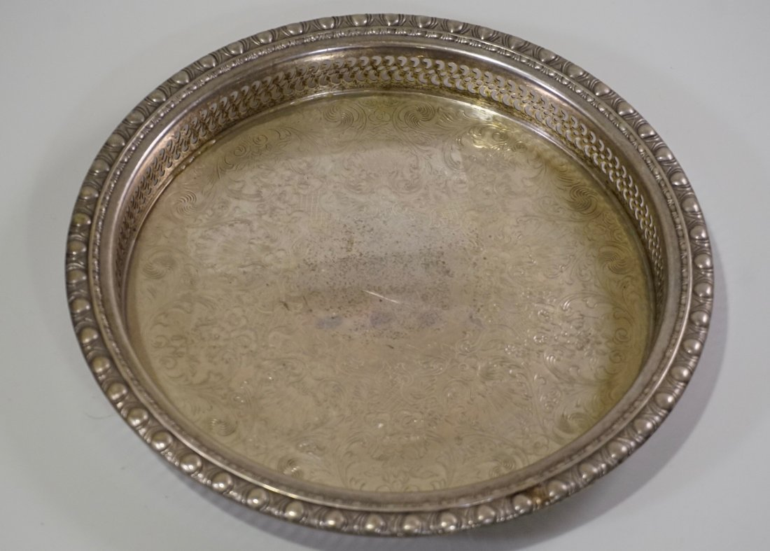 Round Pierced Gallery Serving Platter Tray Lot of 2 - 6