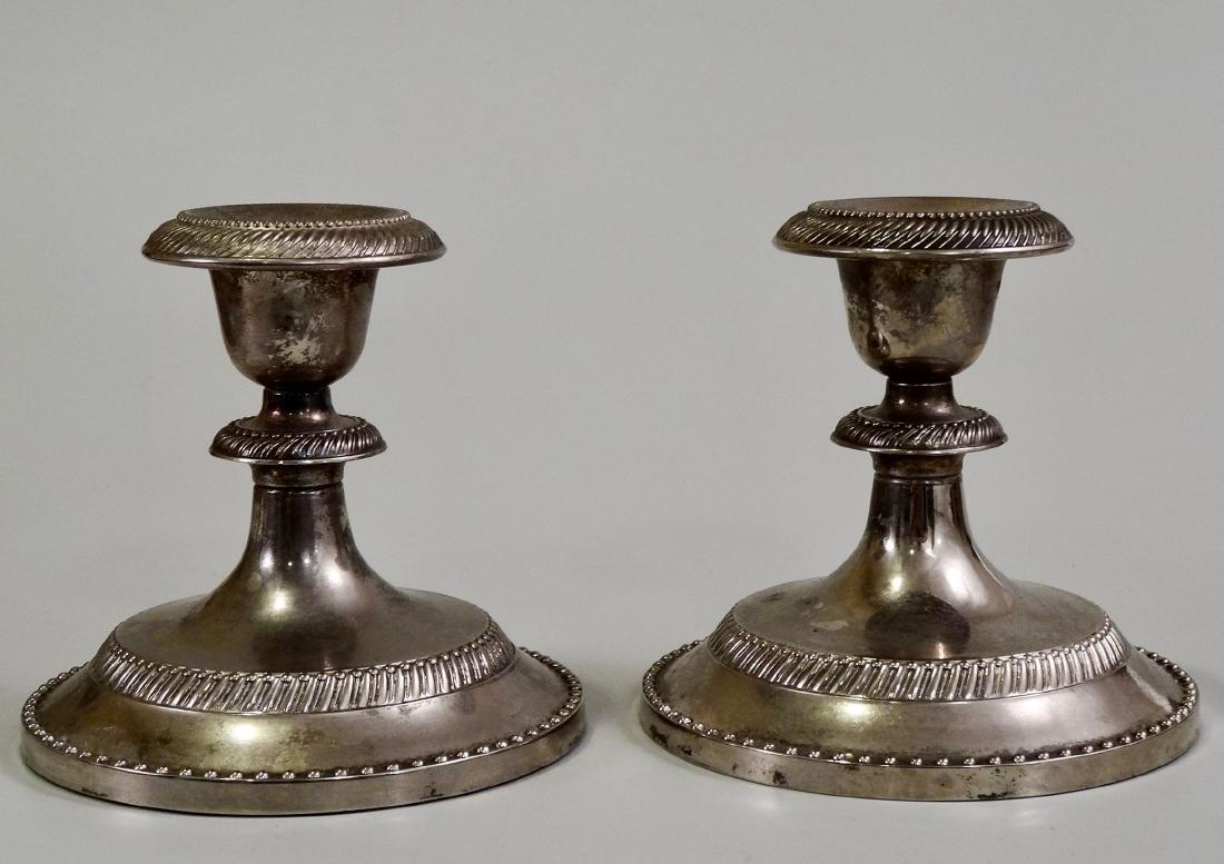 Pair Silver Tone Metal Candleholders