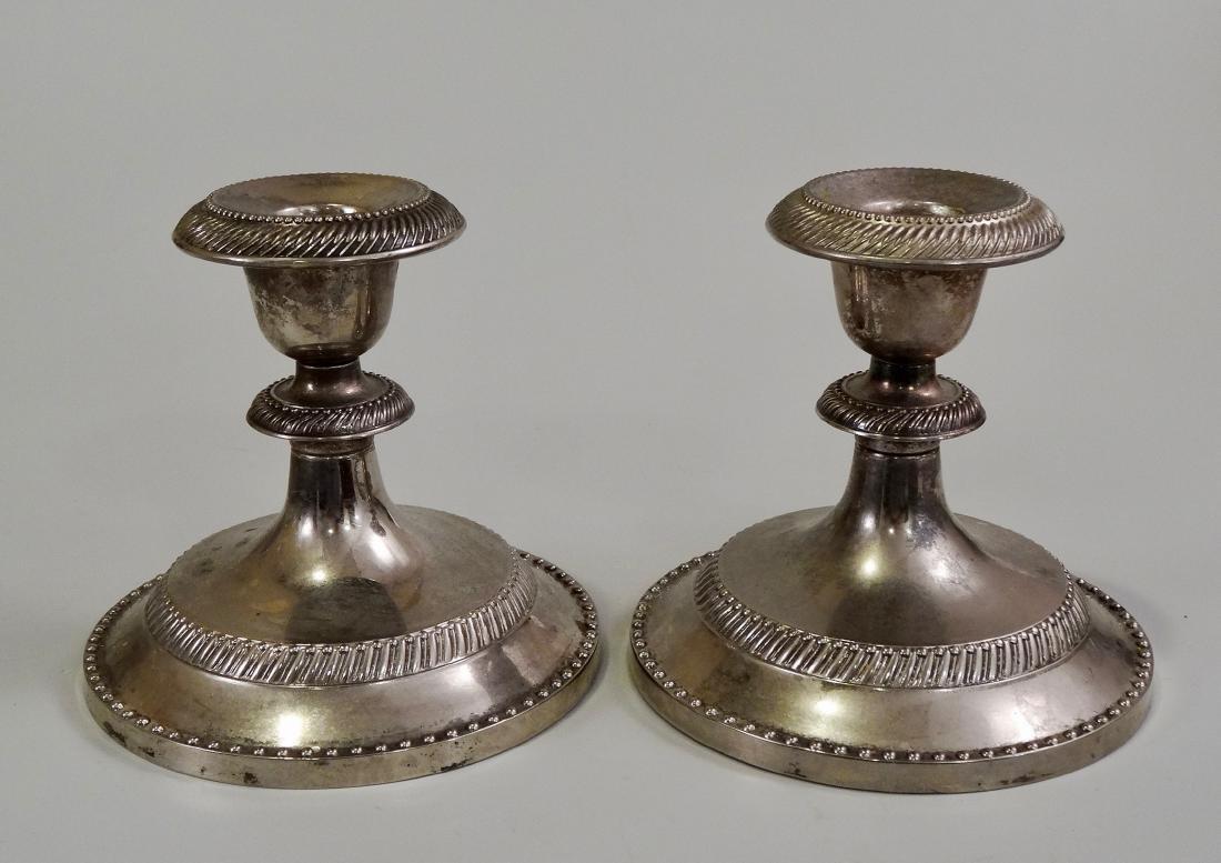 Pair Silver Tone Metal Candleholders - 2