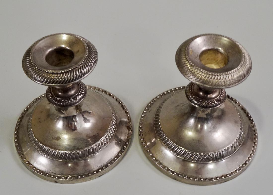 Pair Silver Tone Metal Candleholders - 3