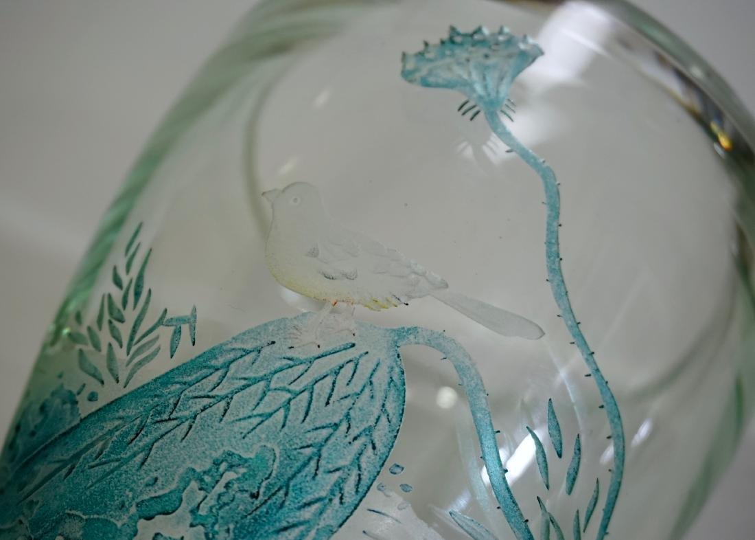 Chinese Peking Glass Signed Bird Vase - 5