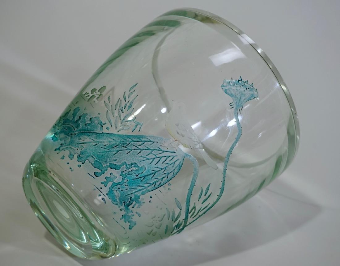 Chinese Peking Glass Signed Bird Vase - 8