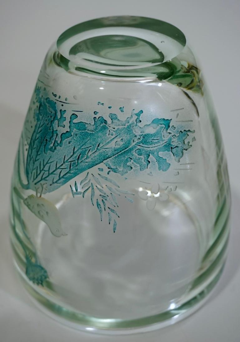 Chinese Peking Glass Signed Bird Vase - 9