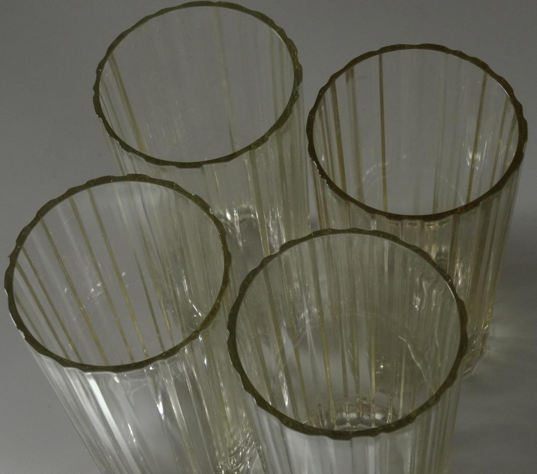 Vintage Art Deco Fluted Water Glass Lot of 4 Glasses - 2