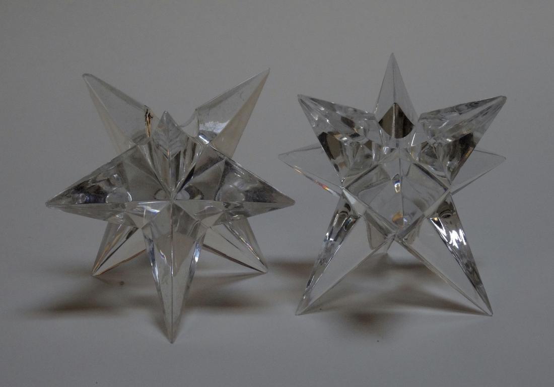 Vintage Art Deco Starburst Glass Candleholders
