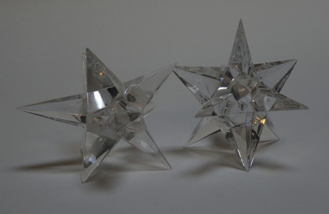 Vintage Art Deco Starburst Glass Candleholders - 3