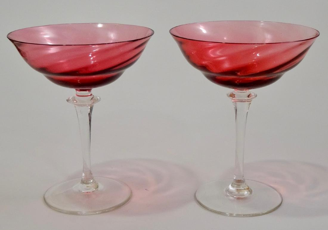 Twisted Cranberry Sherbet Champagne Cocktail Glasses