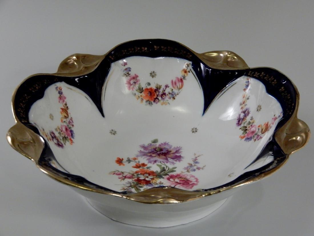 Large Antique Cobalt Porcelain Dresden Flowers Serving