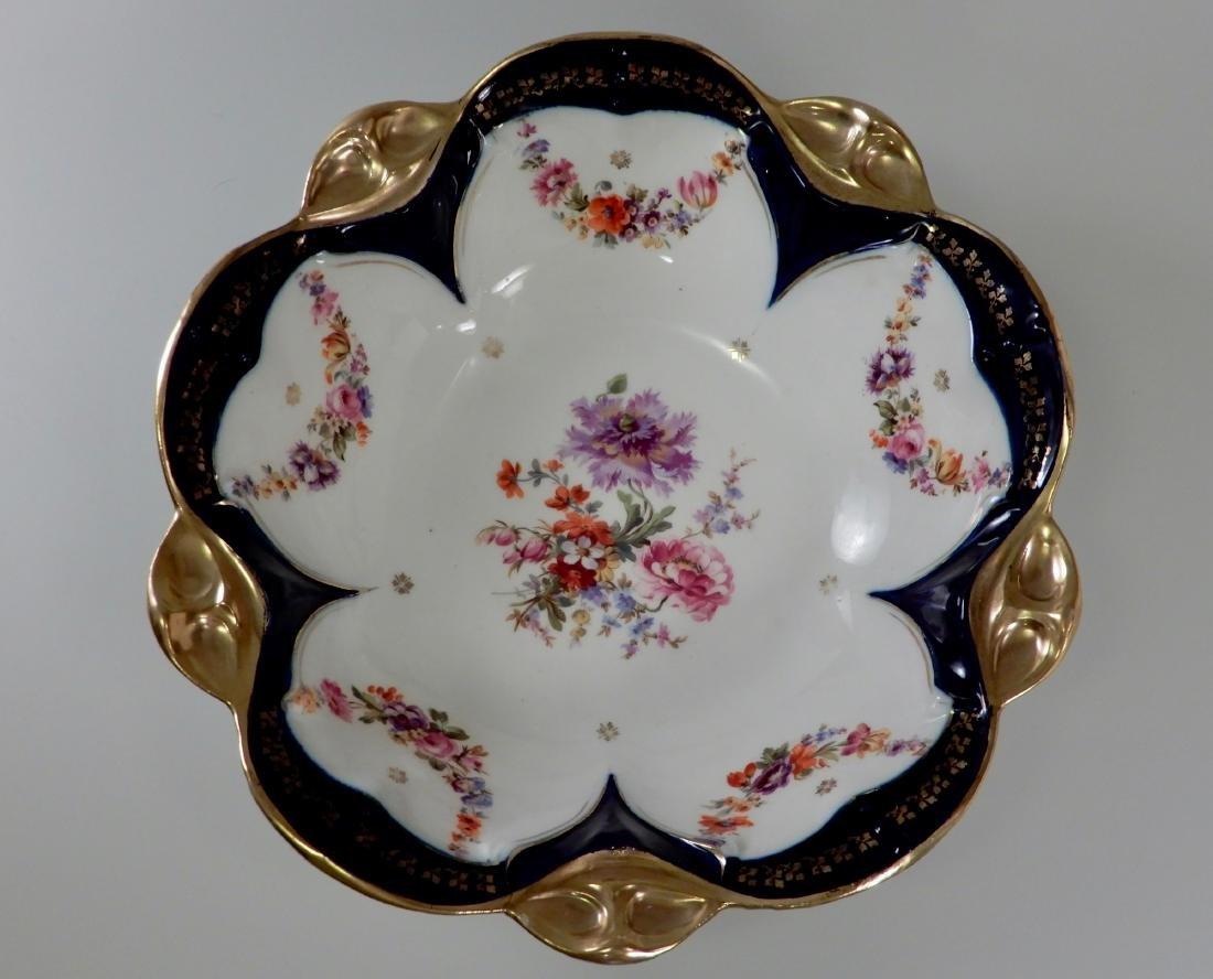 Large Antique Cobalt Porcelain Dresden Flowers Serving - 2