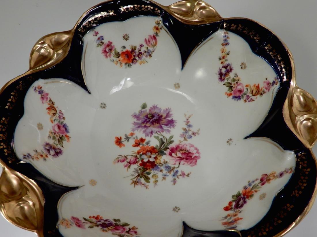 Large Antique Cobalt Porcelain Dresden Flowers Serving - 4