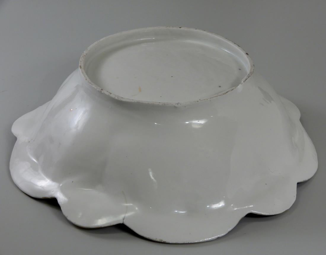 Large Antique Cobalt Porcelain Dresden Flowers Serving - 5