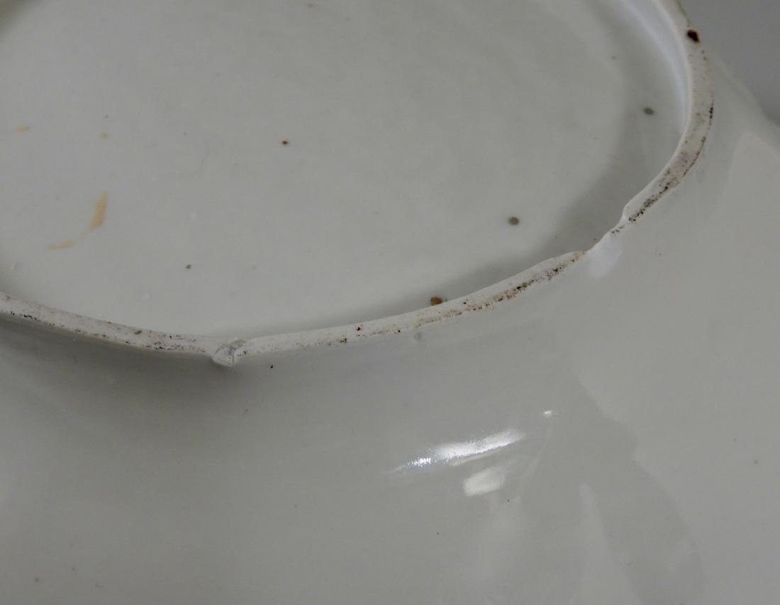 Large Antique Cobalt Porcelain Dresden Flowers Serving - 6