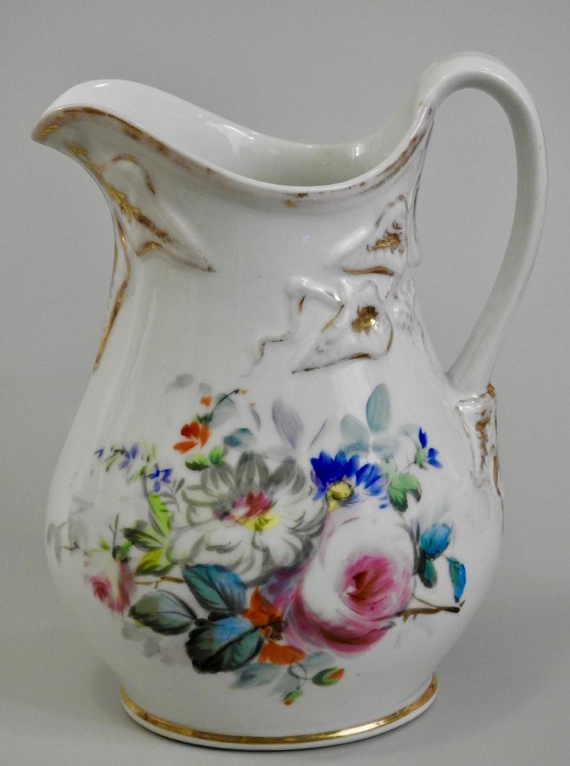 Antique Old Paris Porcelain Painted Pitcher Jug